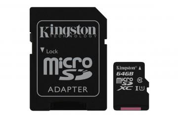 Carte Mémoire micro SD 64Go avec adaptateur SD* Kingston SDCS/64GB *