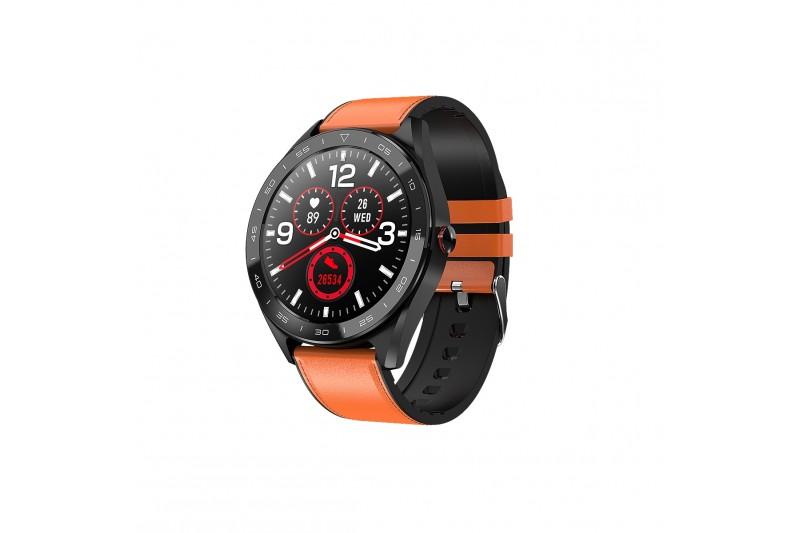 Smartwatch Fulltouch 2 bracelets cuir marron / Silicon noir * DCU 34157010 *