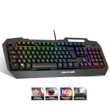 Clavier USB filaire gamer RGB  * Spirit of Gamer Elite CLA-EK40 *