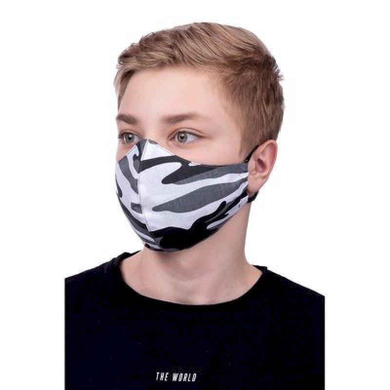 Masque de Protection profilé 100% Coton Enfant 3 à 12 ans motif Camouflage