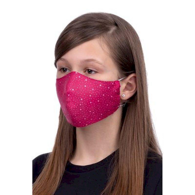 Masque de Protection profilé 100% Coton Enfant 3 à 12 ans motif étoile rose