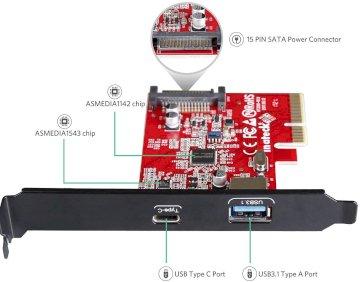 Carte contrôleur PCI-e avec 2 ports USB 3.1 + USB type C